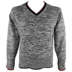 BLACK FLEECE Sweater -  L Grey & Navy Heather Cashmere Red Striped Trim V Neck