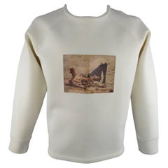 Men's A.SAUVAGE Size XL Cream Neoprene Leather Crewneck Pullover Sweater