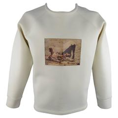 Men's A.SAUVAGE Size XL Cream Neoprene Leather Patch Crewneck Pullover