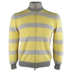 Men's BRUNELLO CUCINELLI Size M Grey & Yellow Stripe Cashmere Zip Cardigan