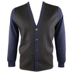 MAISON MARTIN MARGIELA L Black & Navy Mixed Materials Wool Blend V Neck Cardigan