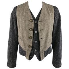Men's DOLCE & GABBANA Size L Charcoal & Taupe Vest Layered Cardigan