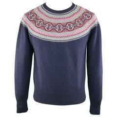 MICHAEL BASTIAN Size S Navy Pink Red & Grey Fairisle Wool Blend Crewneck Sweater