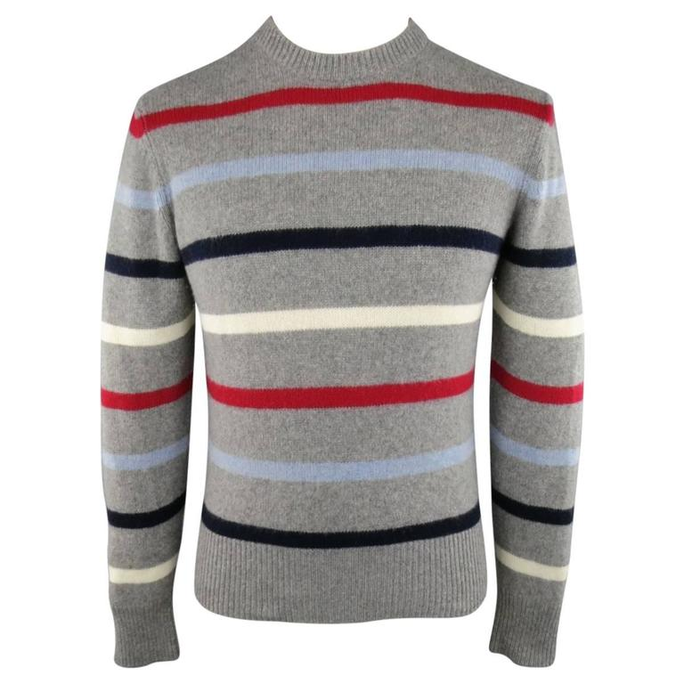 Men's MICHAEL BASTIAN Size S Grey Red White Blue Stripe Cashmere ...