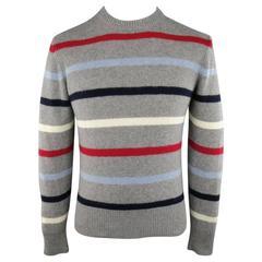 Men's MICHAEL BASTIAN Size S Grey Red White Blue Stripe Cashmere Pullover