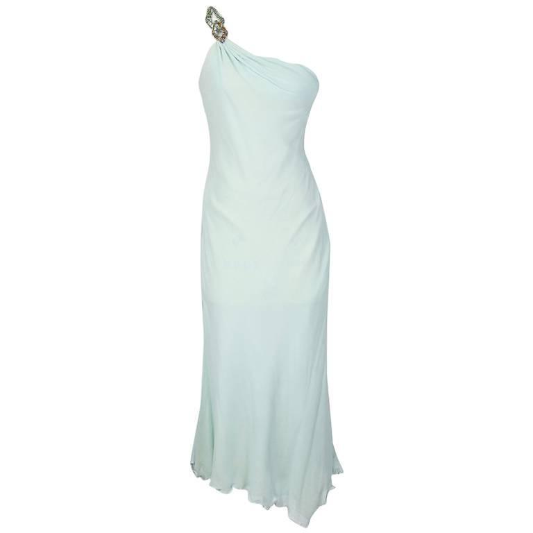 Versace Atelier One Shoulder Silk Dress circa late 1980s. For Sale