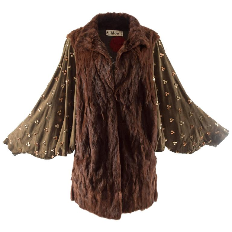 Chloe mink fur coat with studded suede batwing sleeves, circa 1980s For Sale