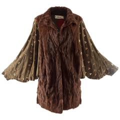 Chloe mink fur coat with studded suede batwing sleeves, circa 1980s