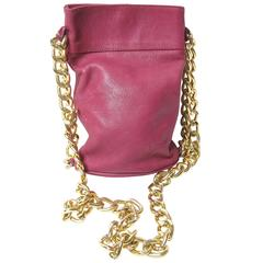Ferretti Leather Bucket Bag with Chain Strap -sale