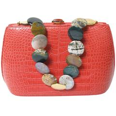 Judith Leiber Alligator Bag with Polished Stone Strap - sale