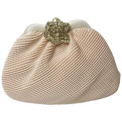 Judith Leiber Pink Pleated Fabric Bag with Rhinestone Rose