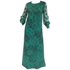 1970s Esther Wolf Green Organic Print Maxi Dress