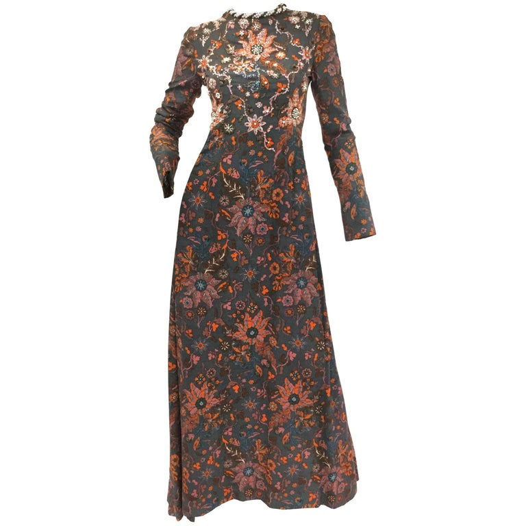 1970s George Halley Beaded and Sequined Floral Trailing Dress