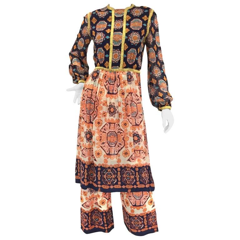 1960s Shalwar Kameez Silk Geometric Tunic & Palazzo Pants