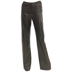 Gucci Tom Ford Espresso Leather Bootcut Trousers, 1990s