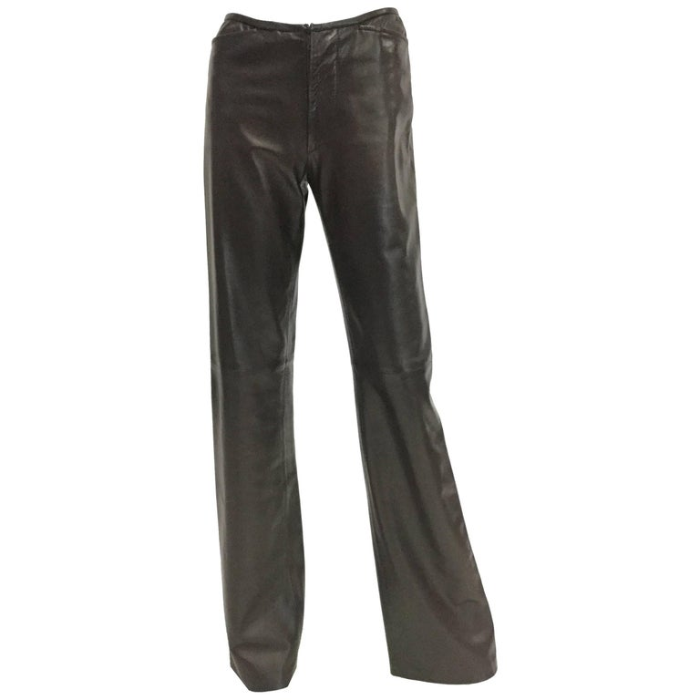 1990s Gucci Tom Ford Espresso Leather Bootcut Trousers