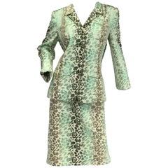 Oscar de la Renta Green Ombre Brocade Cheetah Print Suit, Spring / Summer 2006