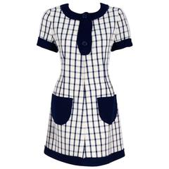 1967 Courreges Couture Navy-Blue Ivory Checkered Wool Mod Space-Age Mini Dress