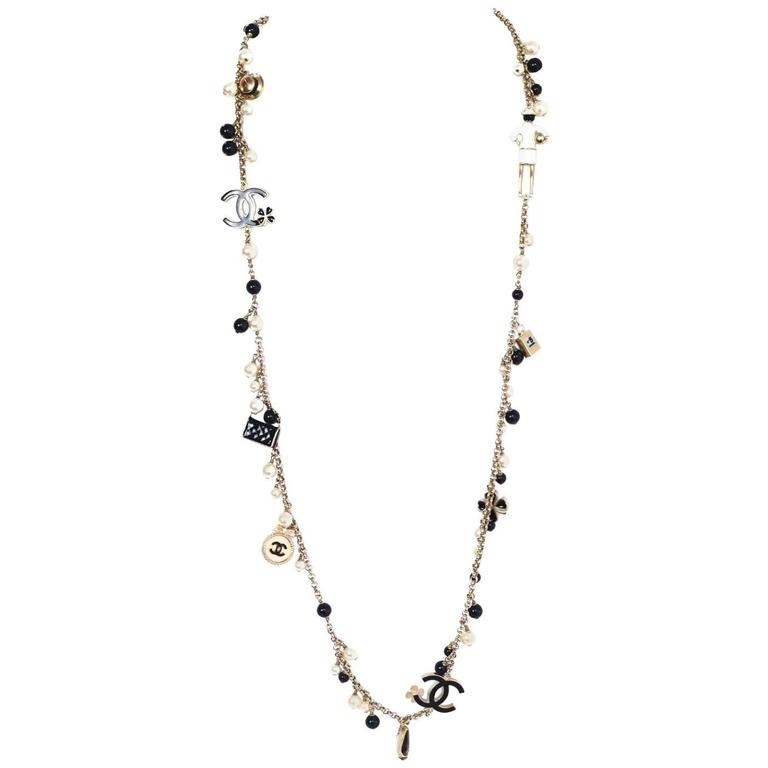 Chanel Pearl & Black Beaded & Iconic Charm Necklace For Sale