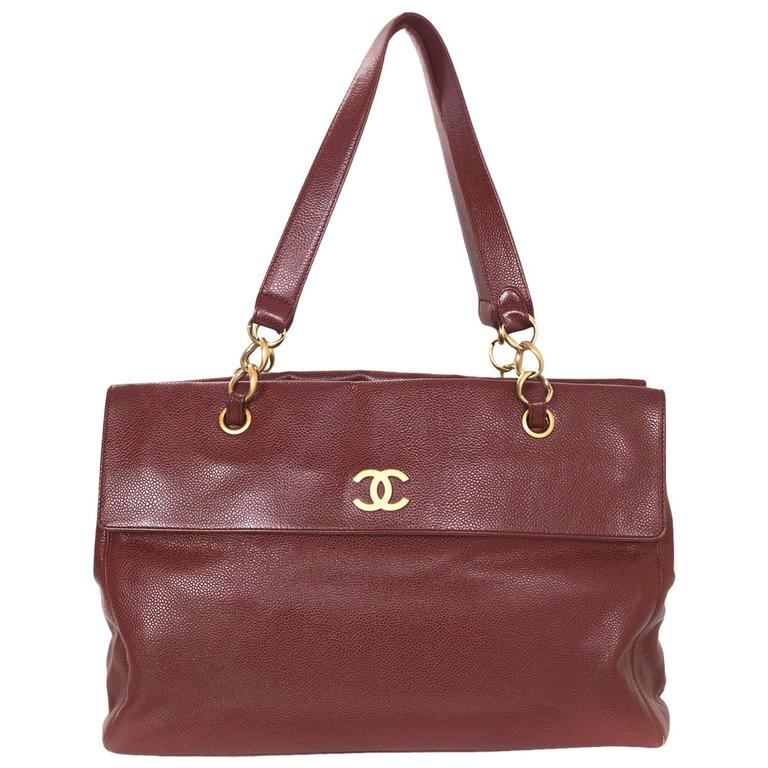 Chanel Burgundy Caviar Leather CC Twist-lock Tote Bag  For Sale