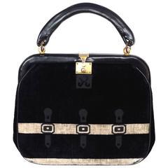 Roberta di Camerino Vintage Black Velvet Frame Bag