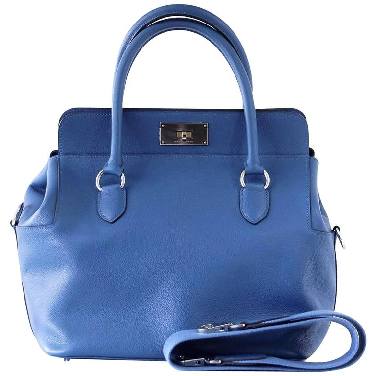 Hermes 26 Toolbox Bag Vivid Blue Hydra Evercolor Leather Palladium