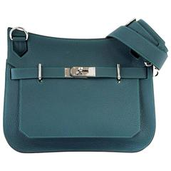 HERMES Jypsiere 31 Bag Malachite Emerald Green Tone Clemence Palladium