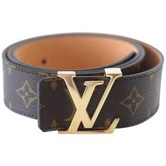 LOUIS VUITTON Belt San Tulle Monogram 100cm / 40 Gold LV Buckle w/ Box