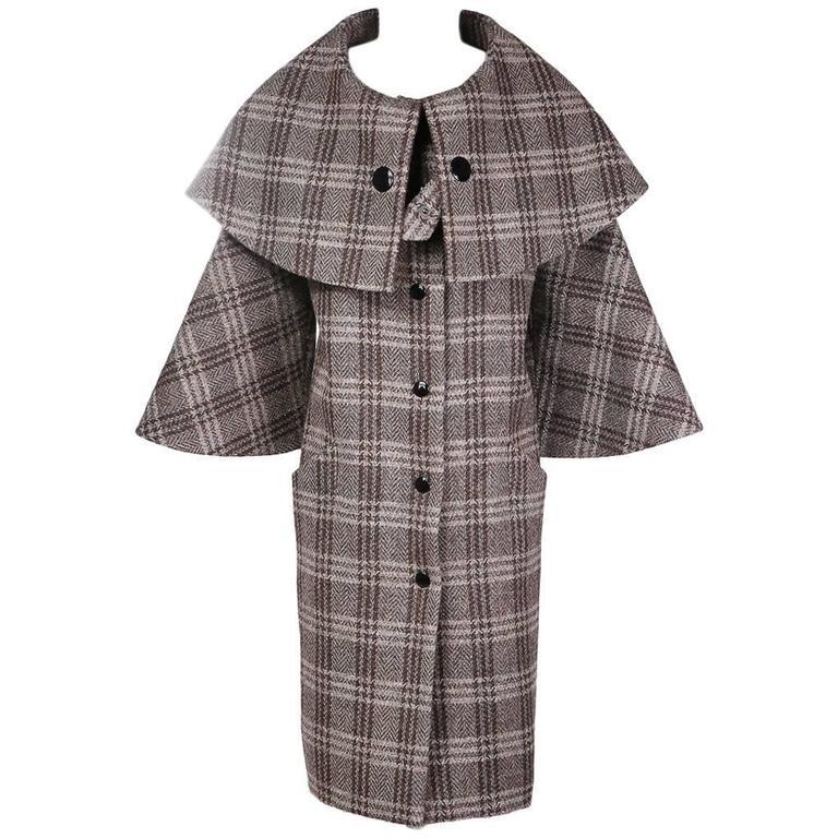 Pierre Cardin Plaid Wool Coat circa 1960s