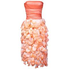 Rochas Peach Organza Strapless Dress from 2003