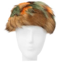 60s Multicolor Orange and Green Raccoon Fur Hat