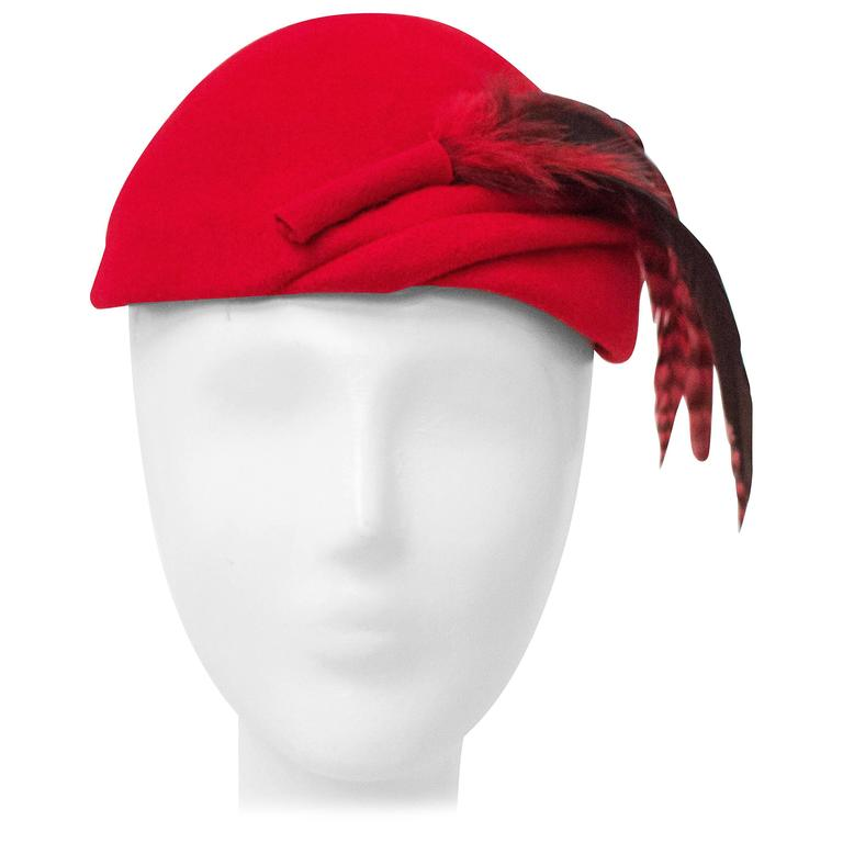 50s Red Wool Felt Fashion Hat w/ Feathers