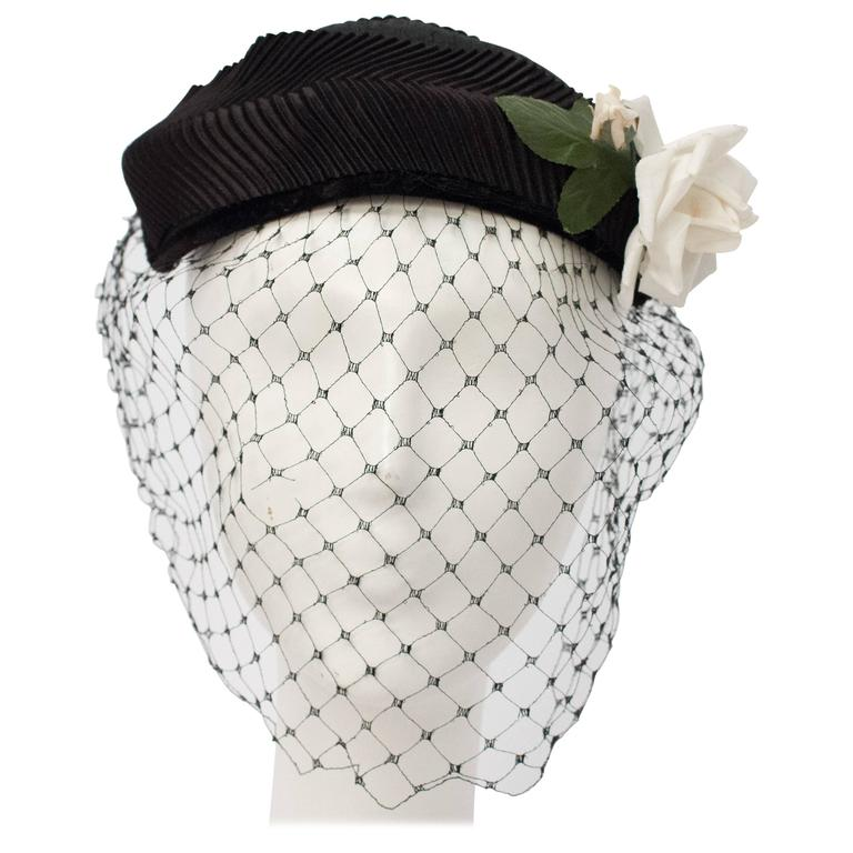 50s Black Veiled Hat w/ White Flower For Sale