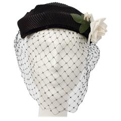 50s Black Veiled Hat w/ White Flower