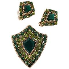 60s Weiss Green Rhinestone Brooch & Earring Shield Set