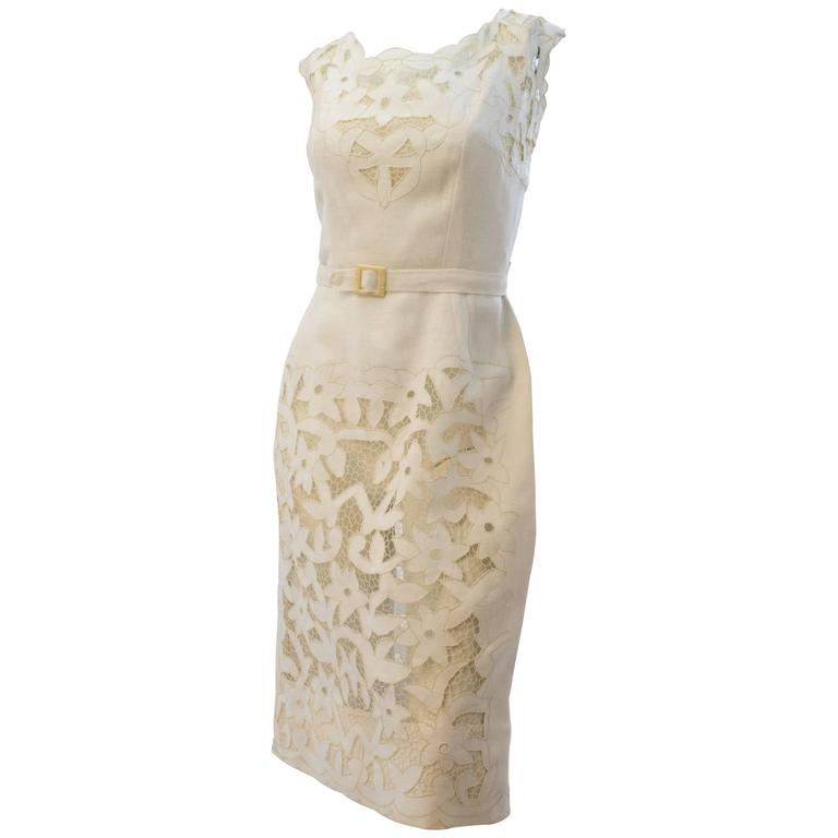 50s White Linen and Lace Dress For Sale