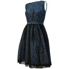 50s Black and Blue Lace Dress