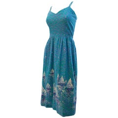 1970s Blue Printed Impressionist Sailboat Sundress