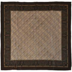 Ralph Lauren Coco Brown Palsey Border Silk Scarf