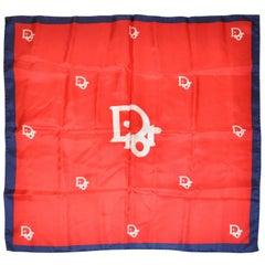 Christian Dior Signature Logo Red White & Navy Silk Scarf