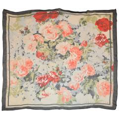 "Perry Ellis Navy Border with Multi ""Floral Arrangement"" Silk Chiffon Scarf"