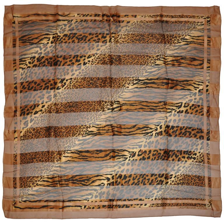 "Adrienne Vittadini ""Multi-Size Leopard Print"" Silk & Chiffon Scarf For Sale"