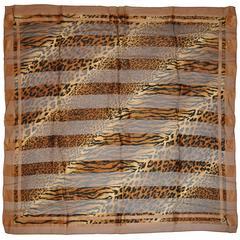 "Adrienne Vittadini ""Multi-Size Leopard Print"" Silk & Chiffon Scarf"