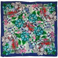"""Garden of Fruits, Flowers & Birds"" Silk Scarf"