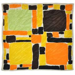 """Large Yellow Blocks"" Silk Scarf"