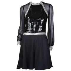 Chloe Sequin and Beaded Long Sleeve Dress, Modern