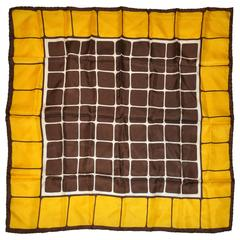 "Symphony ""Yellow & Brown Color-Block"" Silk Scarf"