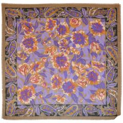 Taupe Borders with Multi-Color Floral Center Challis-Like Fringed Edge Scarf
