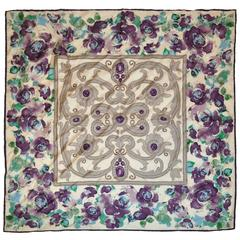 """Plum Floral & Jewels"" Silk Scarf"