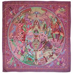 """Shades of Purple Hue Whimsical Creatures"" Silk Scarf"